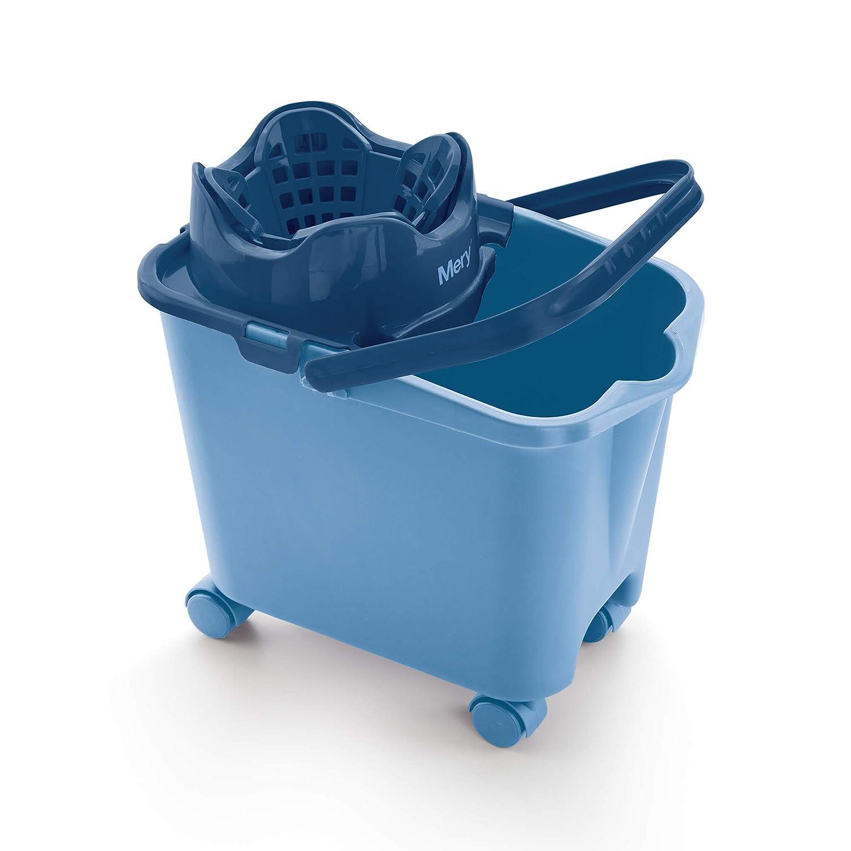 Mery secchio con strizzatore automatico, in polipropilene, Acciaio 38.20 x 25.50 x 39 cm blu Grupo Rayen 0336.13