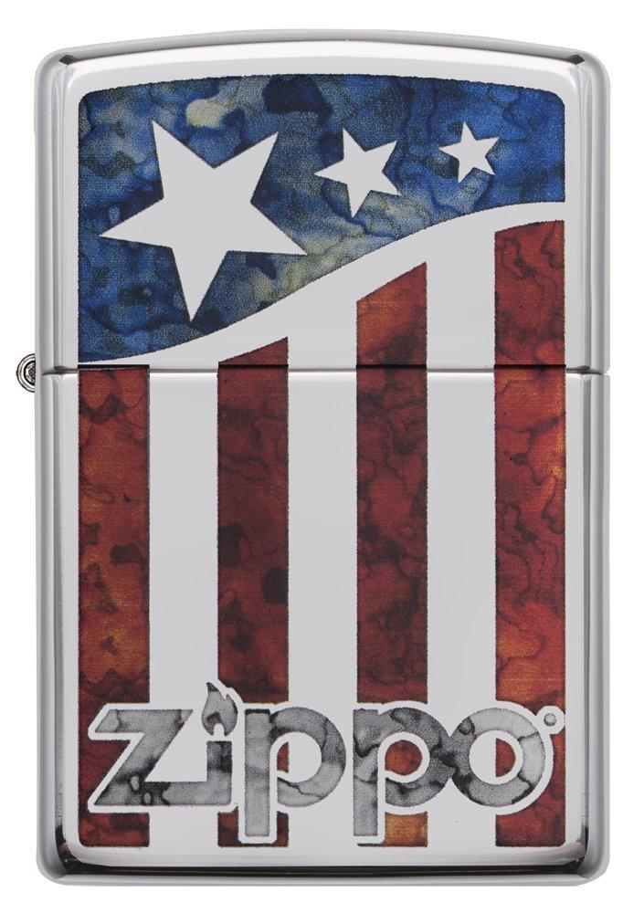 Zippo American Flag Pocket Lighter, High Polish Chrome by Zippo (Image #2)