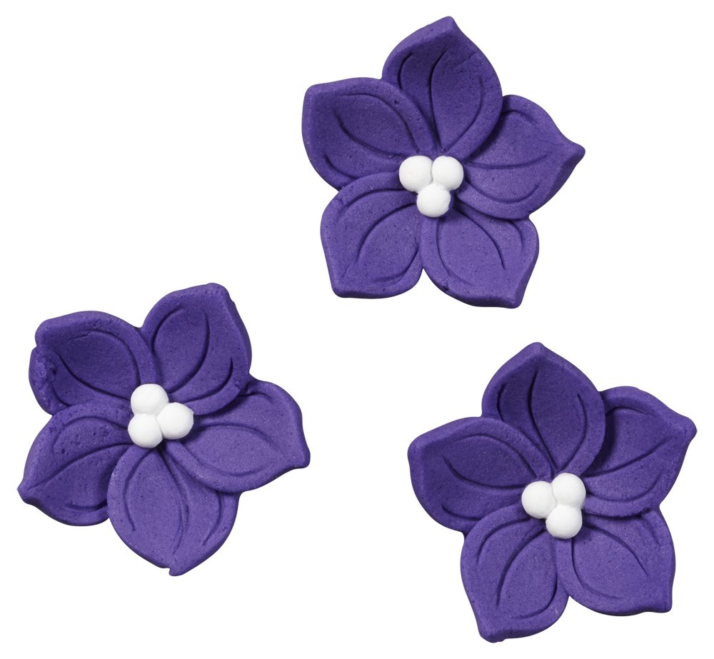 Wilton 710-0266 Purple Posy Icing Decorations, 12/Pack