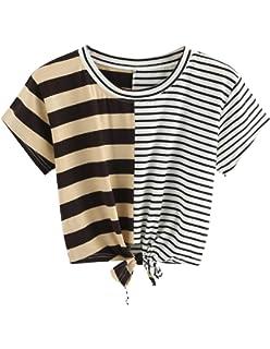 Women Teen Girls Striped Cute Crop Top Tie up Knot Belly Shirt Summer Tee T-