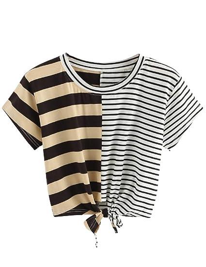 89675345108db Women Teen Girls Striped Cute Crop Top Tie up Knot Belly Shirt Summer Tee T-