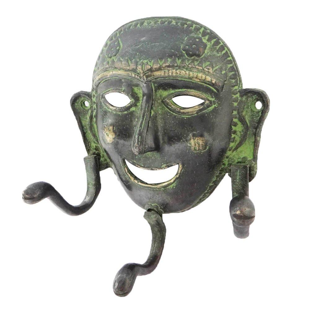 人間マスクデザイン壁ハンガーブラック置物手彫り真鍮メタル壁D Cor B071YWH6J7