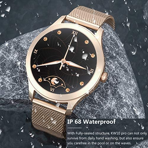Smart Watch for Women Full Touch Screen IP68 Waterproof Fitness Tracker with Heart Rate Blood Pressure Oxygen Monitor Step Calorie Counter Music Control Smartwatch for iPhone Android Phones (Gold)