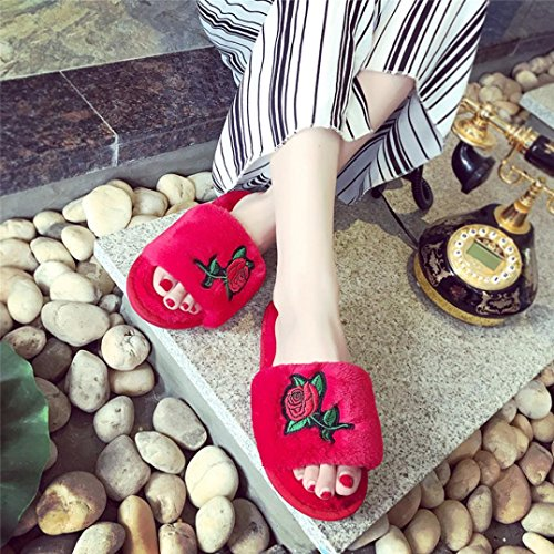 2b021dc77056 2017 Fashion Shoes Kinghard Women s Flip Flop With Fluffy Faux Fur Flat  Slipper Womens Fluffy Faux