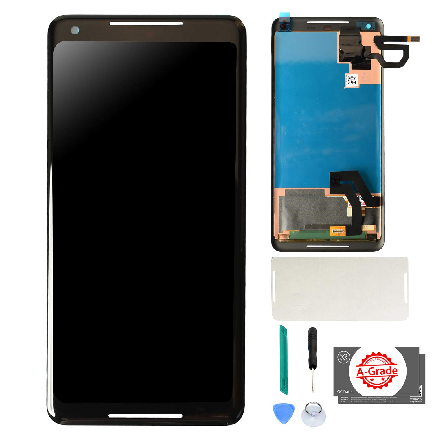 KR-NET OLED LCD Display Touch Screen Digitizer Assembly Replacement for Google Pixel 2 XL, with Adhesive and Tools by KR-NET