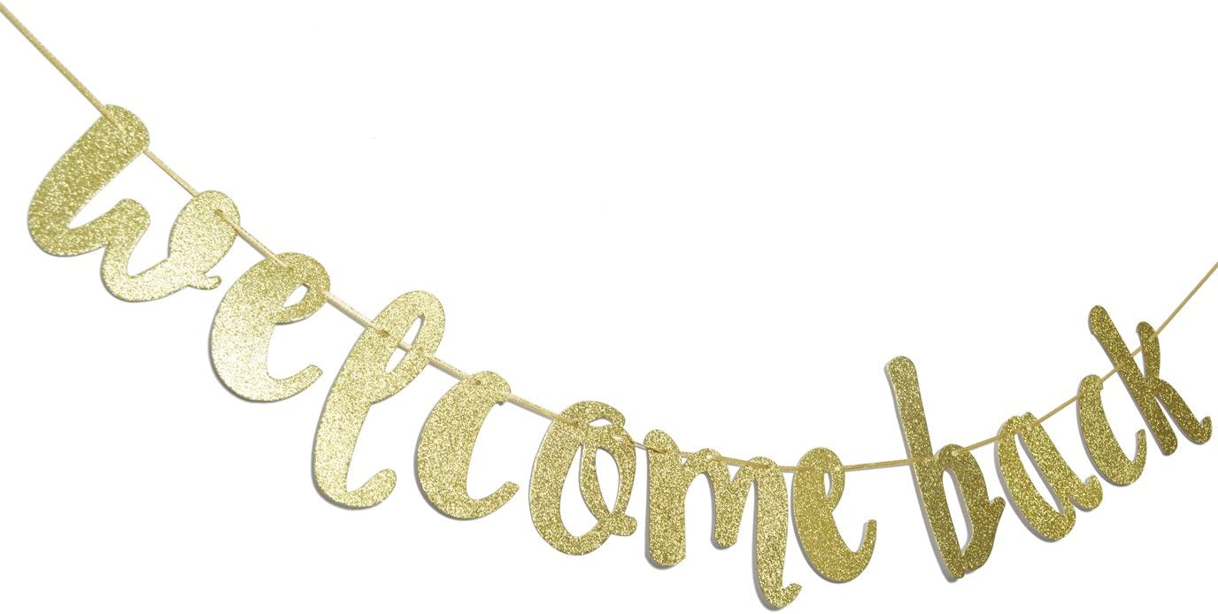 Welcome Back Gold Glitter Hanging Sign Banner- First Day of School, Classroom Decor,Back to School Party Decorations