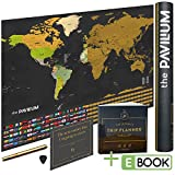 """Premium Scratch Off Map of the World with United States & All Countries – 17""""x 24"""" - Make Amazing Memories w/Laminated World Map Poster w/Flags, Scratcher Tool & Dry Erase Marker by The Pavillium"""