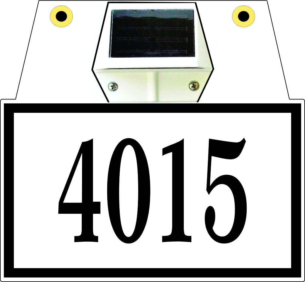 Comfort House Lighted Hanging Address Sign - Two Sided Address Plaque with Solar Lights Displays Up to 5 House Numbers P2534