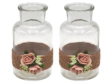 Zauberdeko 2 Vasen Hochzeit Vintage Tischdeko Deko Glaser Kordel