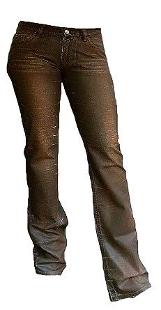 ca0c5591c3e84 Fornarina Femme Jeans Marron Flirt ciré Aspect Cuir usé Denim Rock Star  Bootcut Pantalon - Marron