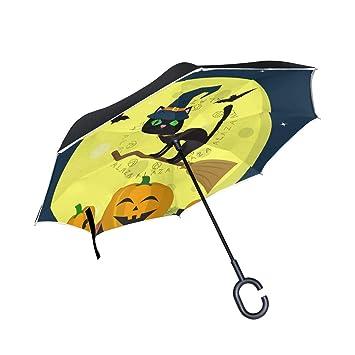 Sombrero de gato negro de calabaza Besom Magic Sombrero invertido Paraguas de doble capa Luna Noche