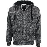 Lee Hanton Full Zip Hoodie Mens Heavyweight Sherpa Lined Thermal Long Sleeve Hoodie Jacket (Small, Marble Dark Grey)