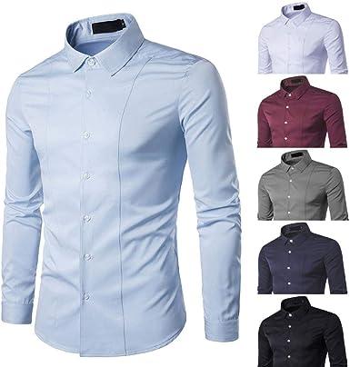Yvelands Camisa de Negocios Avanzada para Hombres, Camisa de ...
