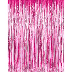 GOER 3.2 ft x 9.8 ft Metallic Tinsel Foil Fringe Curtains for Party Photo Backdrop Wedding Decor (1 Pack, Hot Pink)