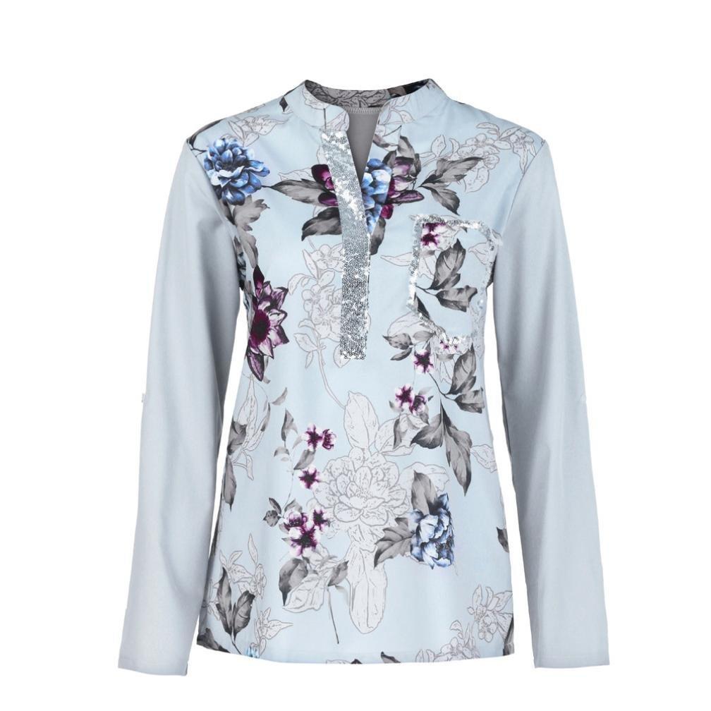 Mujer blusa camiseta tops manga larga Otoño, Sonnena Las mujeres más el tamaño con cuello en V de manga larga blusa con lentejuelas Tops camiseta casual traje de calle urbano