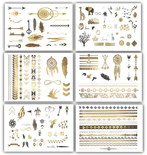 Terra Tattoos Temporary Tattoos - Over 125 Minimalist Metallic Tattoo Designs in Gold, Black and Silver (6 Sheets), Addison Collection (Simple Halloween Makeup Ideas For Women)