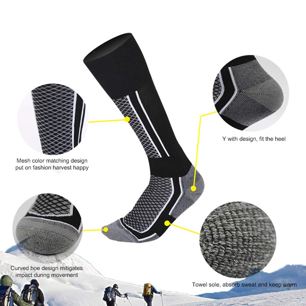 KOqwez33 Men Women Ski Socks Winter Outdoor Sports Thicken Breathable High Cotton Thermal Warm Knee Length Snowboarding Skiing Socks