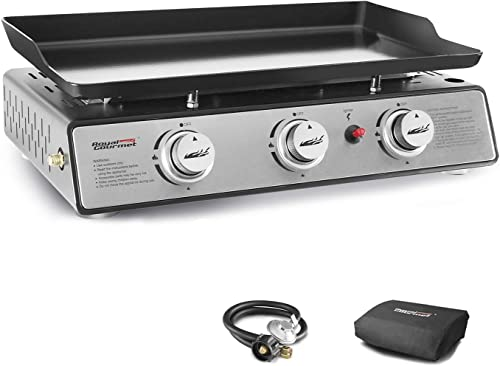 Royal Gourmet PD1301S 24-Inch 3-Burner Portable Table Top Gas Grill Griddle, 25,500 BTUs, 24 inch, Black