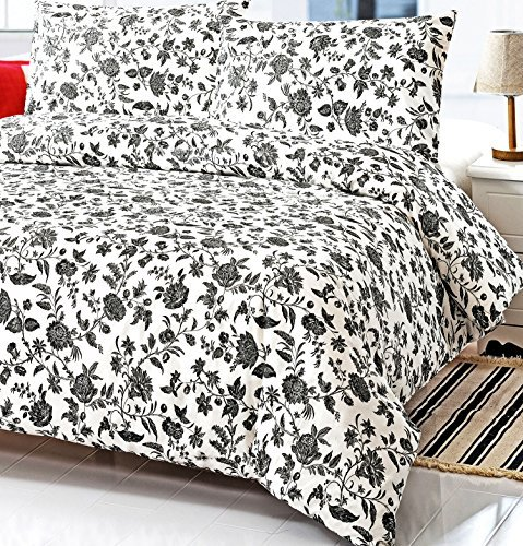 French Country Black and White Floral Full Queen Size Duvet Cover Set 100% Cotton 200 Thread (Black And White Paisley Duvet Cover)