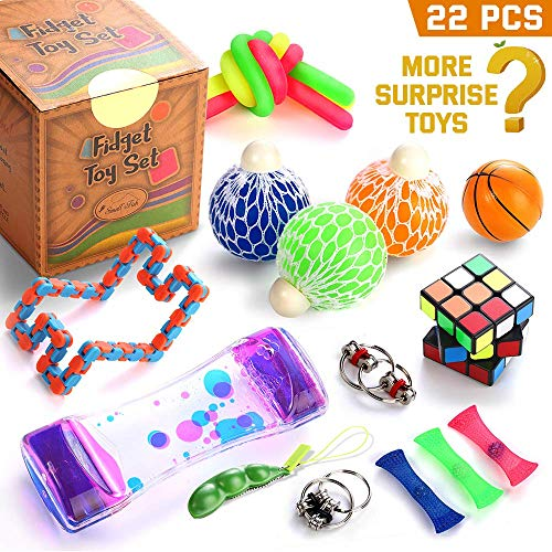 Fidget Toys Set, 22 Pcs. Sensory Tools Bundle for Stress Relief and Anti-Anxiety for Kids and Adults, Marble and Mesh, Pack of Squeeze Balls, Soybean Squeeze, Flippy Chain, Liquid Motion Timer & More -