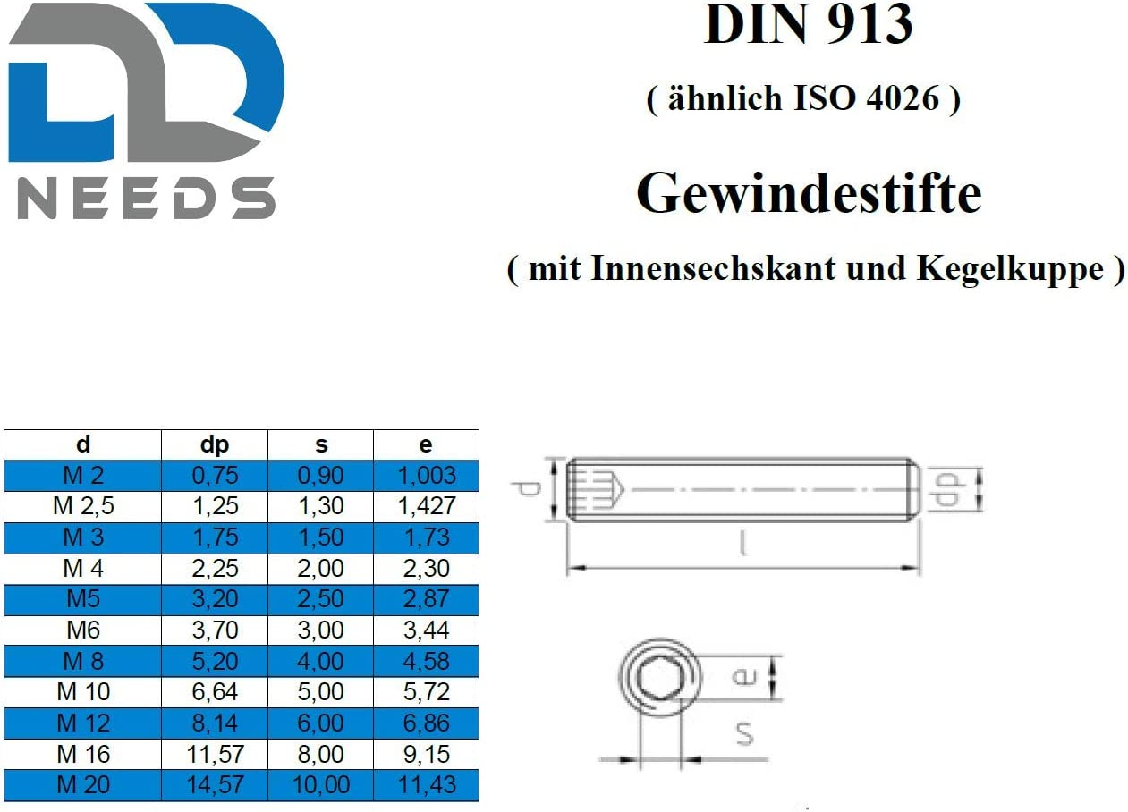 VPE: 10 St/ück ISK Madenschrauben Gr/ö/ße: M2 x 4 mm und Kegelkuppe aus Edelstahl A2 // V2A Gewindestifte D2D nach DIN 913 mit Innensechskant