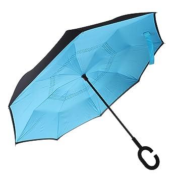 MagiDeal Paraguas de Plegado Inverso Manija en C Forma Superficie Exterior de Color Negro - Azul