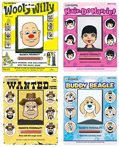 Playmonster Wooly Willy Bundle with Original, Buddy Beagle, Hair Do Harriet, and Wanted Poster (4 items)]()