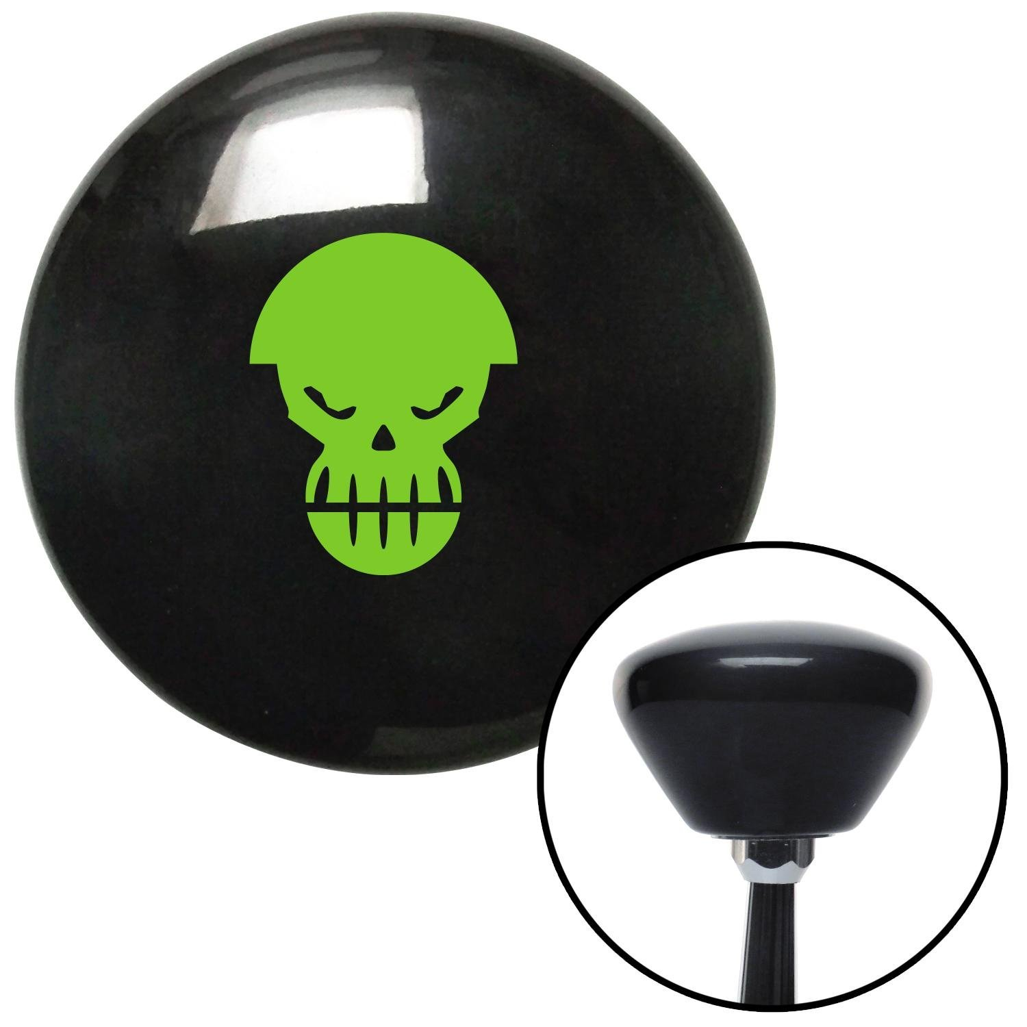 American Shifter 148920 Black Retro Shift Knob with M16 x 1.5 Insert Green Scary Skull
