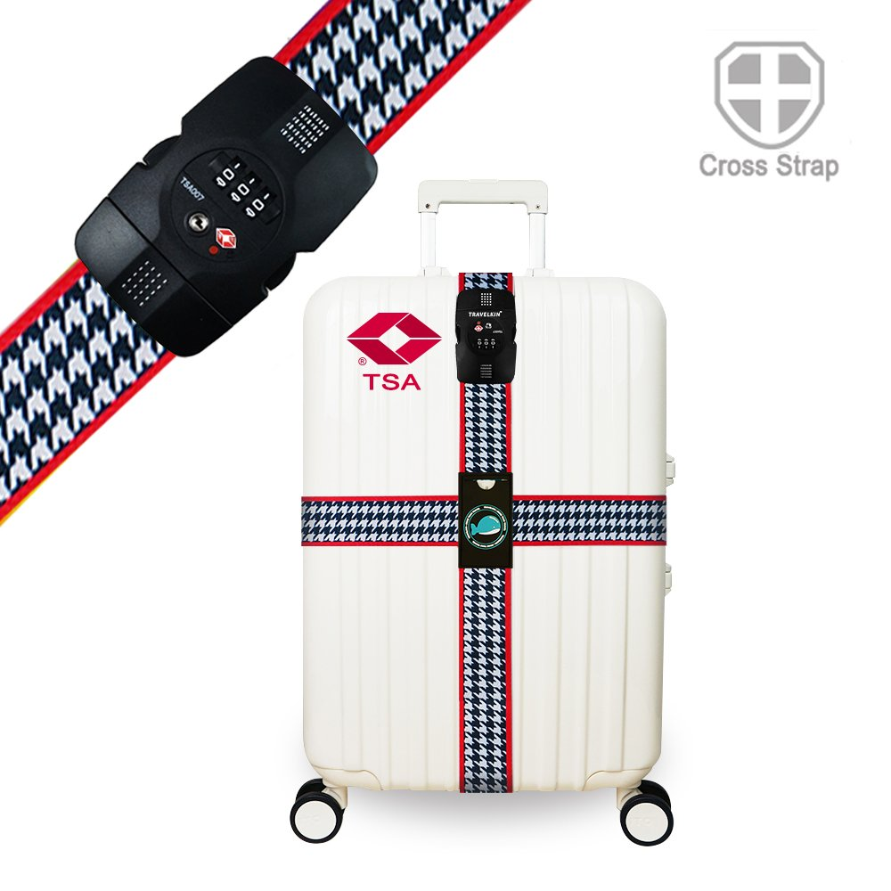 Luggage Straps TSA Approved Lock Long Cross Strap Adjustable Suitcase Belt with Travel Tags Accessories - Bird