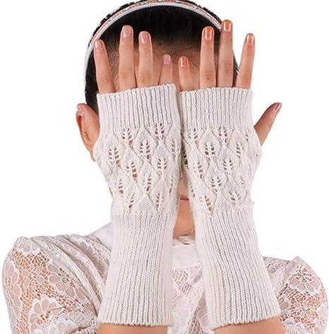TianMi GuanteCaliente Caliente Guantes Sin Dedos Tejido Foliar Agujereado Largo Invierno Sin Dedos Largos Guantes De Algodón Tejida,D: Amazon.es: Deportes y aire libre