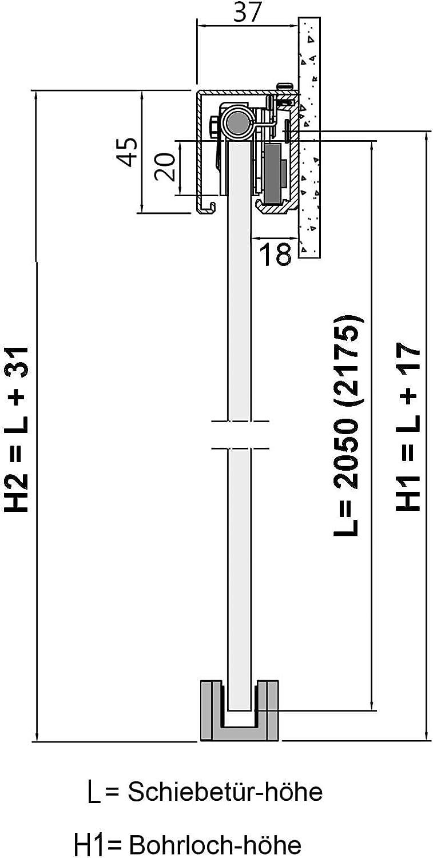ohne Dekor; Schienensystem ALU SlimLine SoftStop; Griffmuschel Schiebet/ürsystem doppelfl/ügelig ESG 2x775x2050x8mm BC-775-AS-DPL zeitloses klares Glas