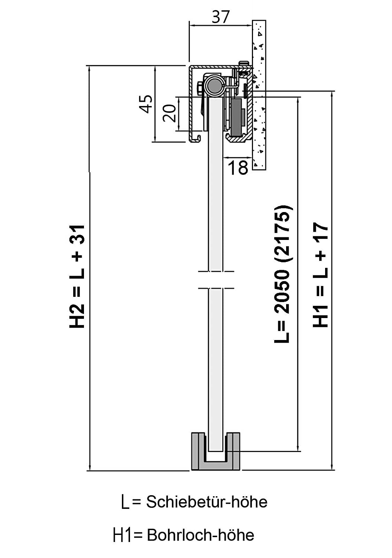 Siebdruck; Alu Schienensystem SlimLine SoftStop; Griffstange eckig 420 BP1-1025-420GR-AS Schiebet/ürsystem ESG 1025x2050x8mm P1