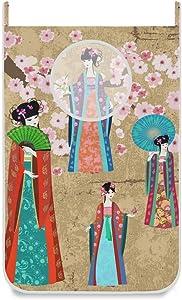 AUUXVA MOFEIYUE Door-Hanging Laundry Hamper Bag Vintage Chinese Women Sakura,Space Saving Wall Hanging Laundry Basket Laundry Bag with 2 Stainless Steel Hooks, 2 Suction Hooks