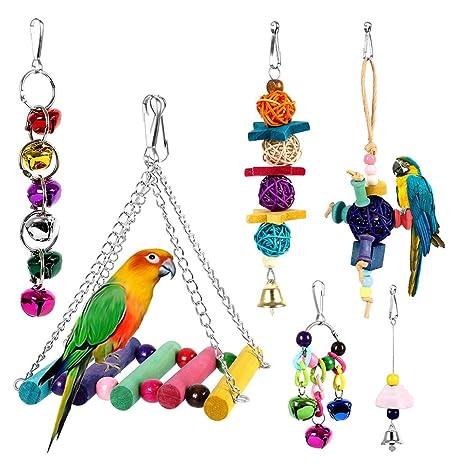 Dightyoho 6pcs Juguetes Coloridos para Pájaros en Juala, con ...
