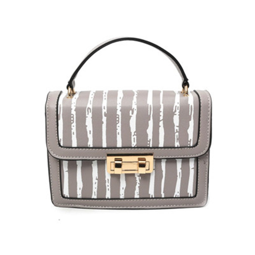 Fashion Vertical Stripes Small Flap Bag PU Leather Women Messenger Bags Ladies Small Handbags Shoulder Crossbody Bags For Women Gray 20x7x15cm