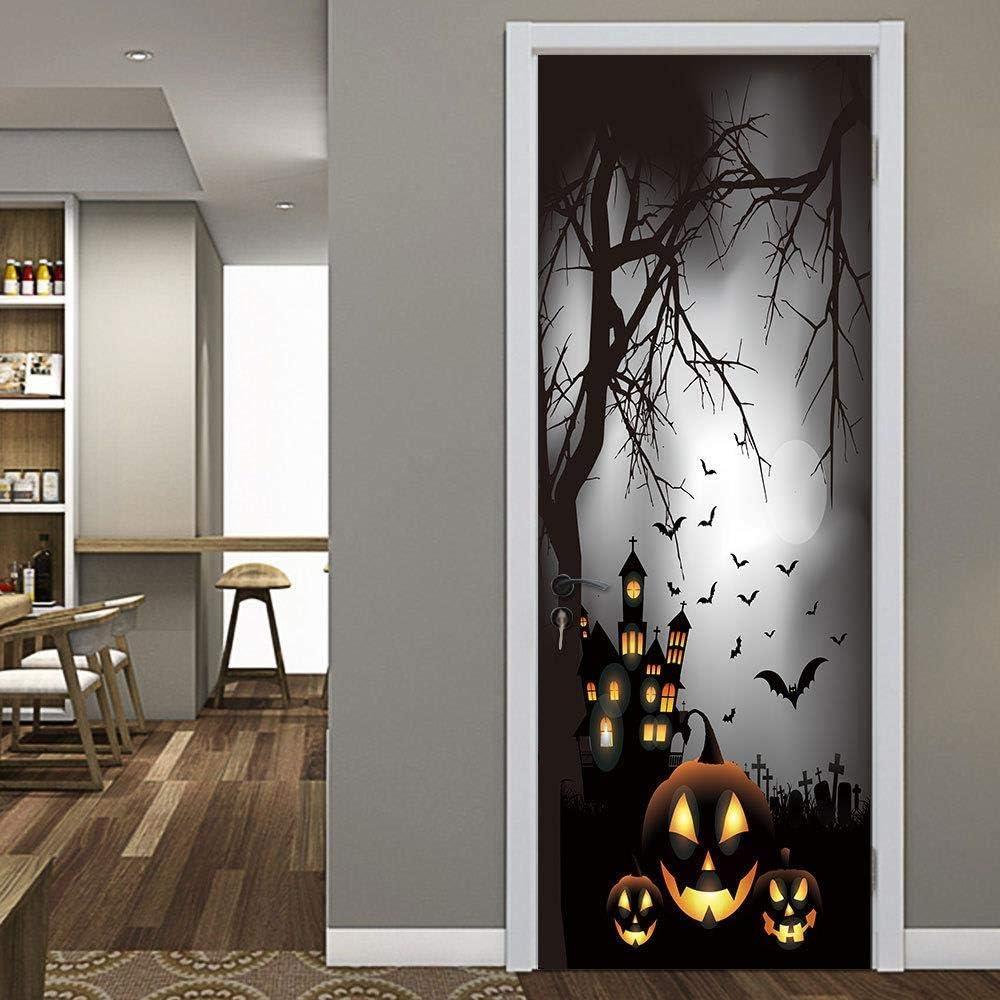 FJSZ Halloween Dekoration T/ürbilder Selbstklebend 3D Horror T/ür Aufkleber Selbstklebende Abnehmbare K/ürbis Sensenmann Tapete F/ür Wohnzimmer Schlafzimmer Refurb T/üren Aufkleber