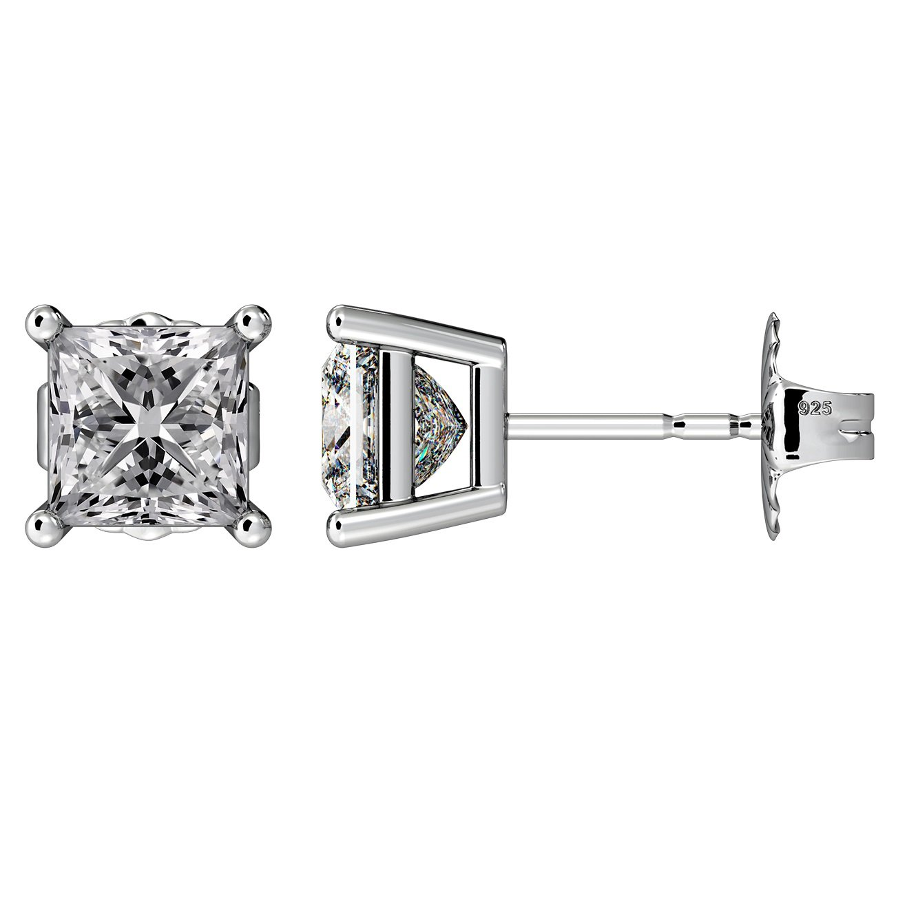 NANA Silver Princess CZ Stud Earrings with 14k Solid Gold Post-5.5mm-2.00cttw-Platinum Plated