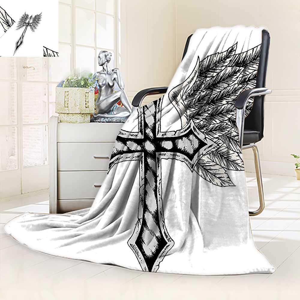 vanfan Warm Microfiber All Season Blanket Collection Heraldic Wing Cross Christ Christian Fable Feathers Faith King Heraldic,Silky Soft,Anti-Static,2 Ply Thick Blanket. (50''x30'')