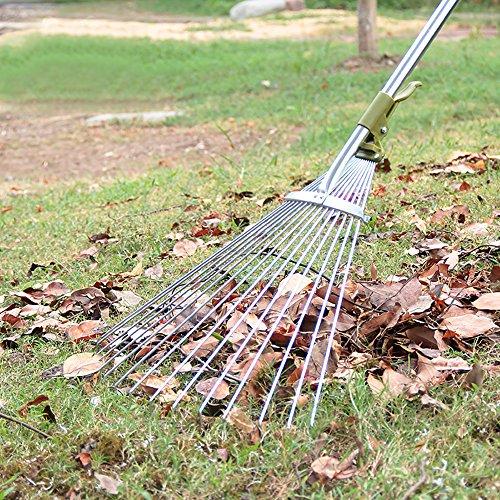 Sungmor Antirust Aluminium 48 to 61 inch Telescopic Leaf Rake with 15-Teeth Adjustable Folding Head,Worth Garden Long handled Leaves Sweeping Tool (Adjustable Rake Telescopic)