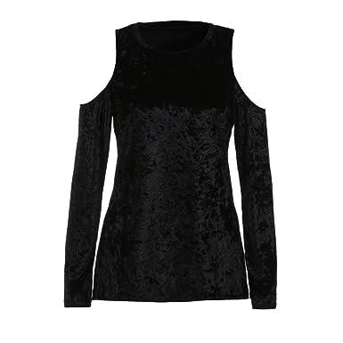 8ed70d0208b730 LILICAT Clothing Fashion Women s Velvet Off Shoulder Clothes Long Sleeve  Blouse T Shirt Autumn Winter Tops
