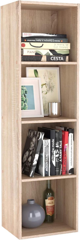 Homfa Estantería para Libros Estantería de Pared Librería con 4 Niveles para Salón Estudio Roble 30x30x106cm