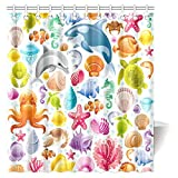 Cartoon Fish Shower Curtain InterestPrint Sea Animals Decor Shower Curtain, Cartoon Art with Fish Seahorse Starfish Dolphin Coral Underwater Life Kids Deco Bathroom Shower Curtain Set with Hooks, 66 X 72 Inches