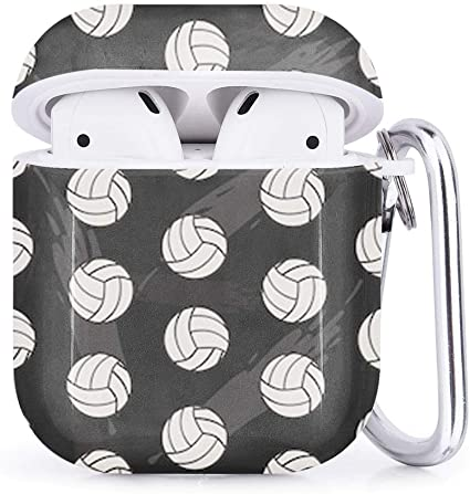 Compatible with AirPods 2 and 1 Shockproof Soft TPU Gel Case Cover with Keychain Carabiner for Apple AirPods Football Soccer