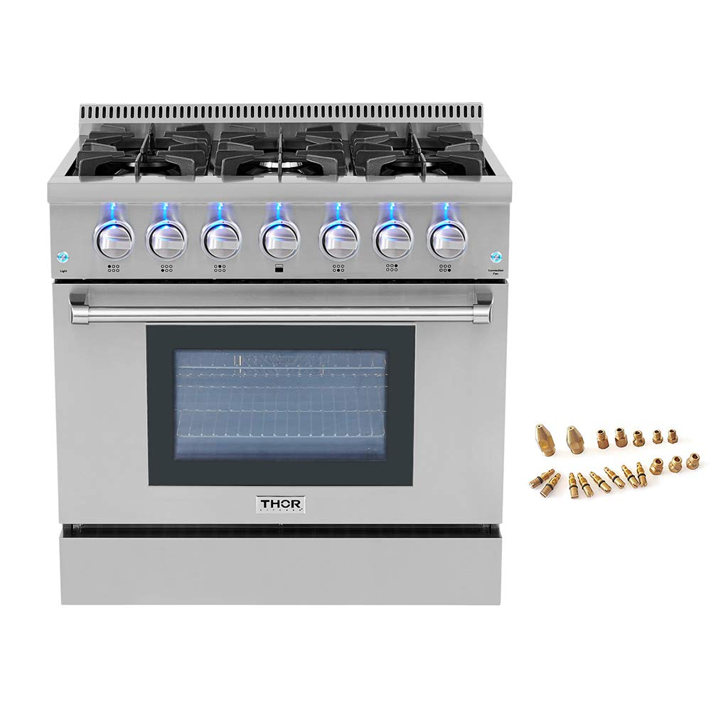 "36"" Pro-style 6 Burner Gas Range + LP Conversion Kit Bundle"