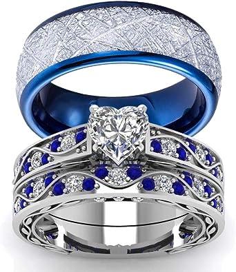 Amazon.com: Juego de anillos de boda para parejas, con ...
