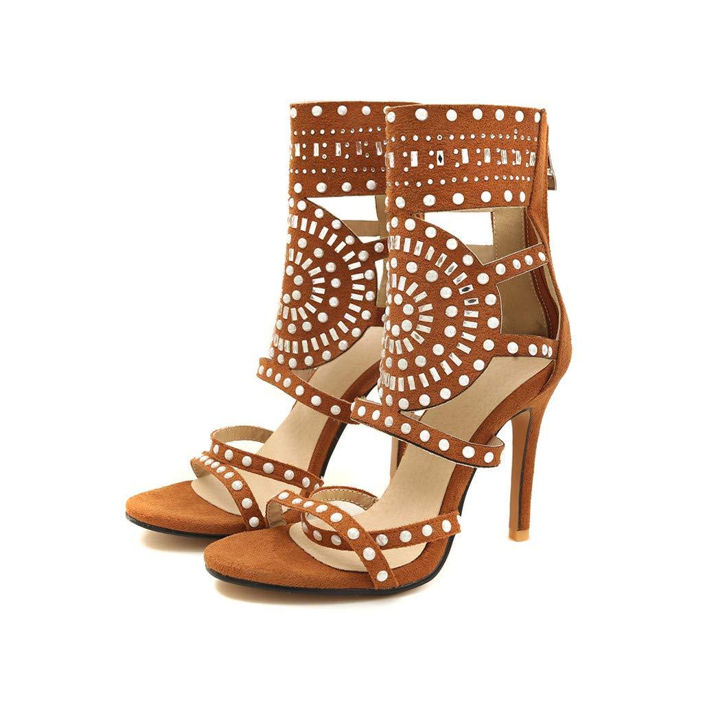 Orangeskycn Women High Heel Sandals Plus Size Fashion Rivet Back Zipper High Heel Open Toe Ankle Beach Shoes Sandals Brown by Orangeskycn Women Sandals (Image #5)
