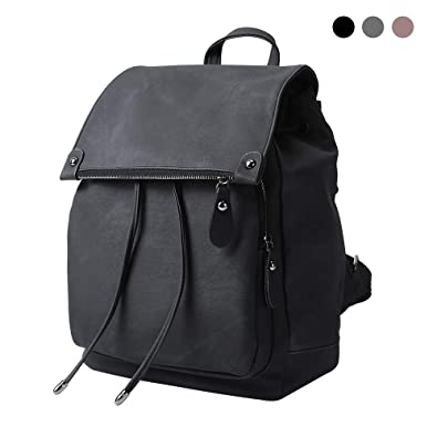 fcaf0a332fbe Amazon.com  Women Backpack Waterproof Anti-theft Lightweight PU Leather Nylon  School Shoulder Bag Travel Backpack Girls Ladies(Black)  Shoes