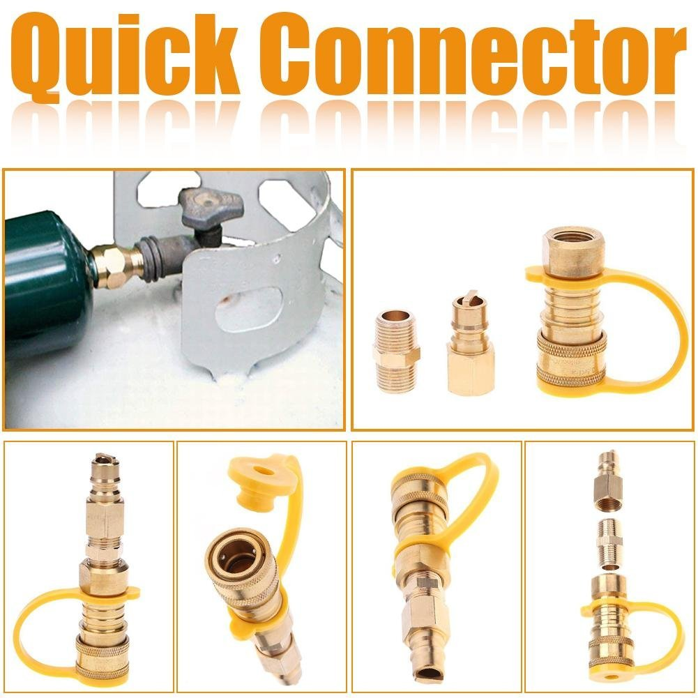 Kit de conectores r/ápidos de gas natural de 3//8 pulgadas lat/ón, f/ácil de instalar, v/álvula de apagado y enchufe de flujo completo, adaptador de gas natural y propano para sistemas de propano//gas de baja presi/ó Hifuture