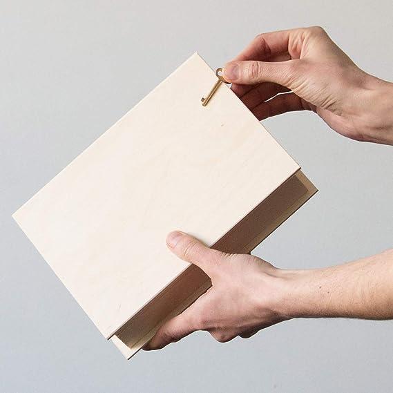 Buch 0,7 Liter Natur Bilderbox Schlüssel 21x17cm Buchschatulle Holzbuch Kiste