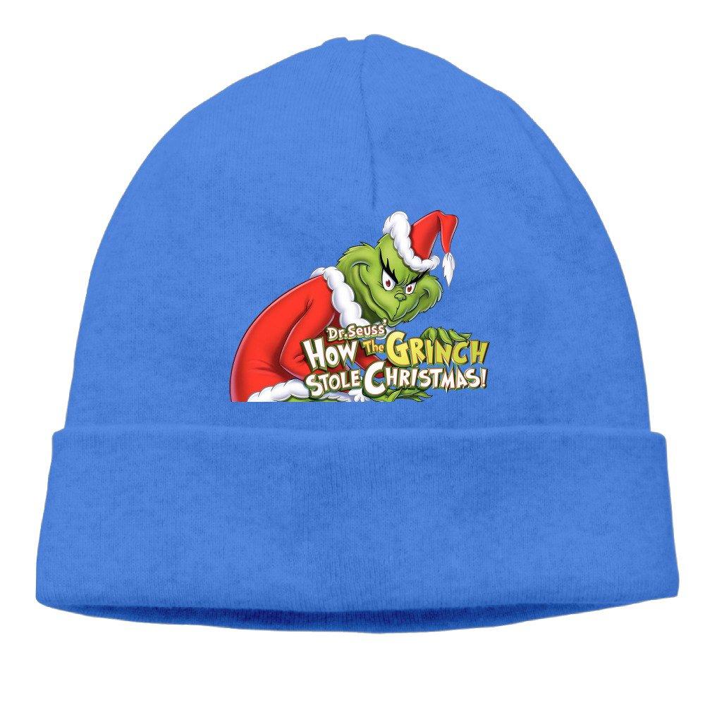 b26b5803eef Amazon.com  COREI779 The Grinch Stole Christmas Beanie Skully Cap Hat Watch  Hat Ski Cap Hat RoyalBlue  Sports   Outdoors